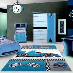 tapis pour enfants tapis de chambre d enfants avec motifs voiture de course de formule 1 enfants 0460 bleu