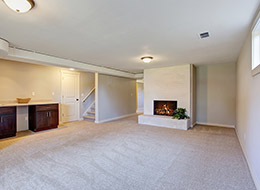 living room with clean carpets