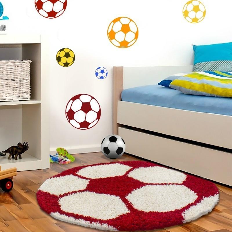 tapis enfant football pour chambre d enfant rouge blanc