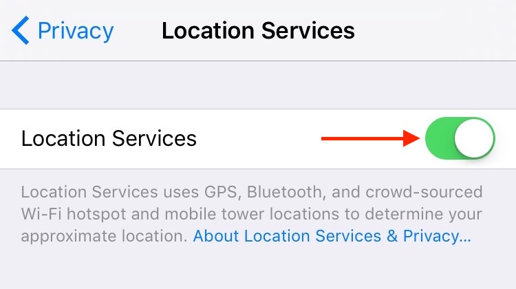 8. Settings Privacy Locations Services Setting