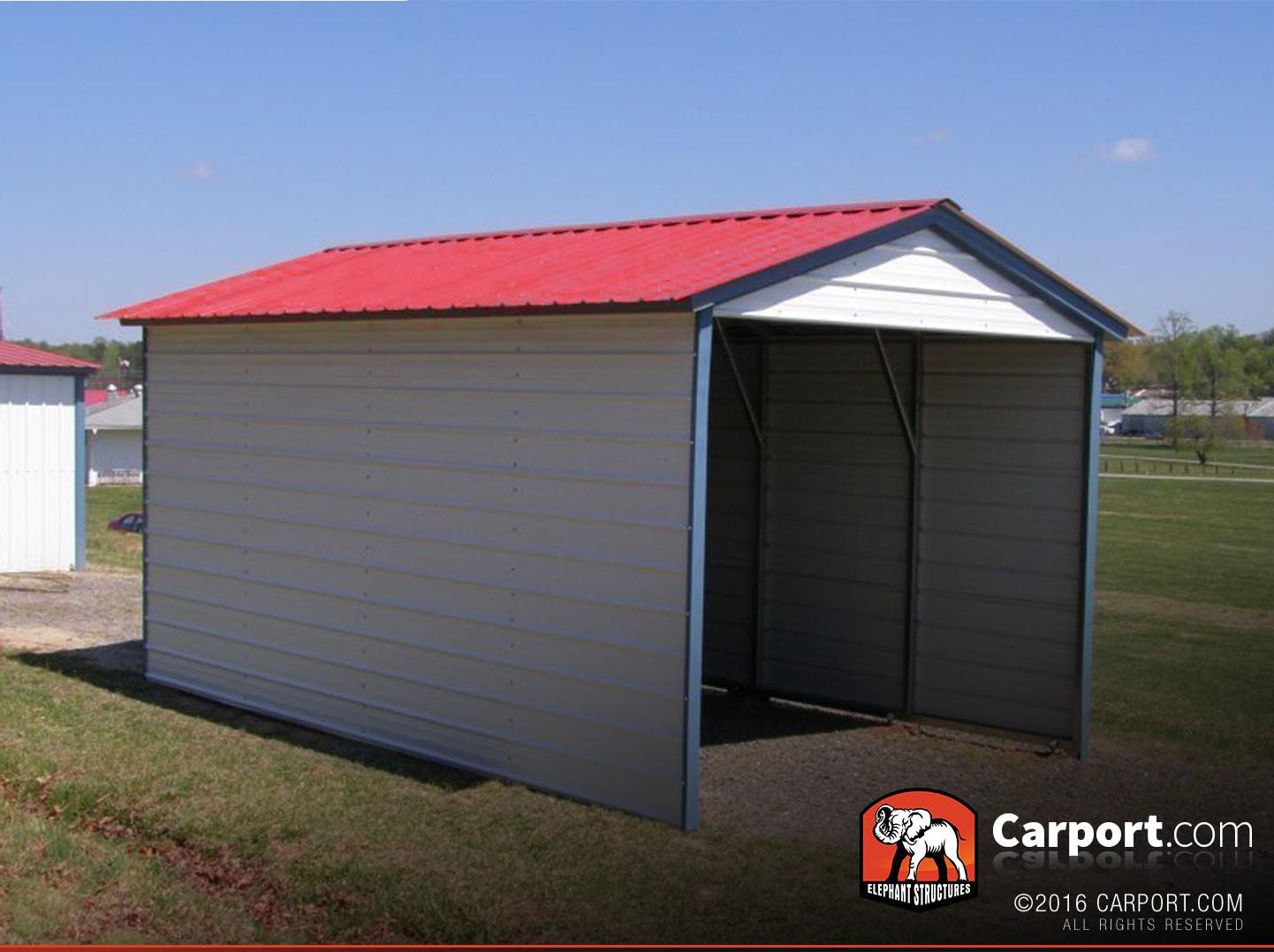 1 Car Metal Carport 12 X 21 With Vertical Roof Metal