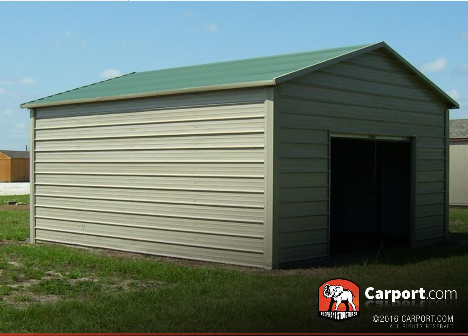 Metal Garage 12 X 21 Boxed Eave Roof Shop Metal