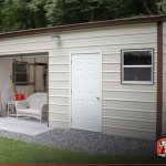 16 X 21 Vertical Style Metal Garage With Roll Up Door