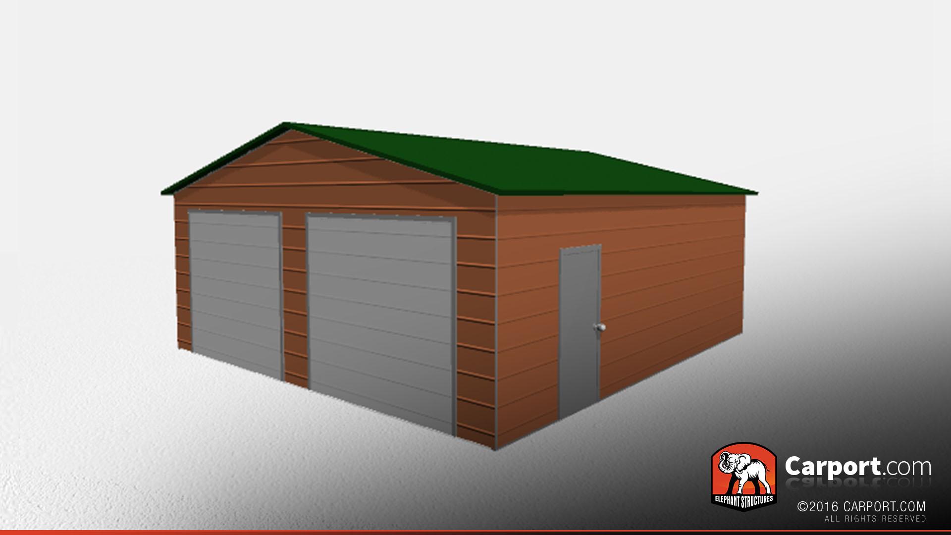 Double Wide Metal Garage 24 X 26 X 9 Clearance Sale