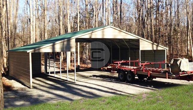Raised Center Aisle Metal Carolina Barn GA With Vertical Lean To