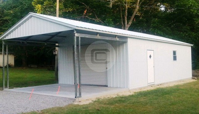 Utility Metal Building Carport With Storage Shed Combo