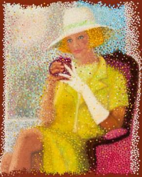 """""""Thé-Elégance"""" / """"Elegance-Tea"""" - Huile sur toile - 81 x 65 cm -"""