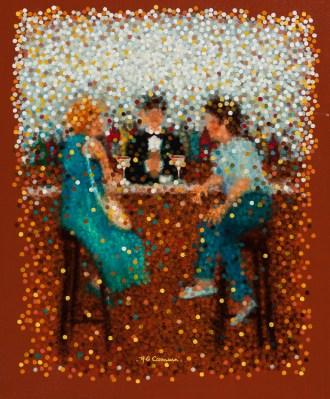"""""""Cocktail-bar"""" - Huile sur toile - 55 x 46 cm"""