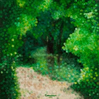 """""""Rivière en sous-bois"""" / """"River in undergrowths"""" - Huile sur toile - 30 x 30 cm"""