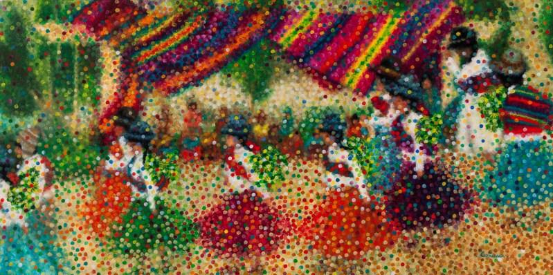 """""""Fête Bolivienne"""" / """"Bolivian Festival"""" - Huile sur toile - 40 x 80 cm"""