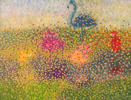 """Effervescence-Flamants"" / ""Effervescence-Flamingoes"" - Huile sur toile - 50 x 65 -"