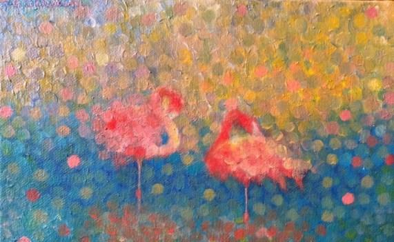 """""""Sérénité-Flamante"""" / """"Serenity-Flamingo"""" - Huile sur toile - 16 x 22 -"""