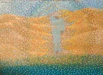 """""""Pensées de sables"""" / """"Thoughts of sand""""- Huile sur toile - 73 x 100"""