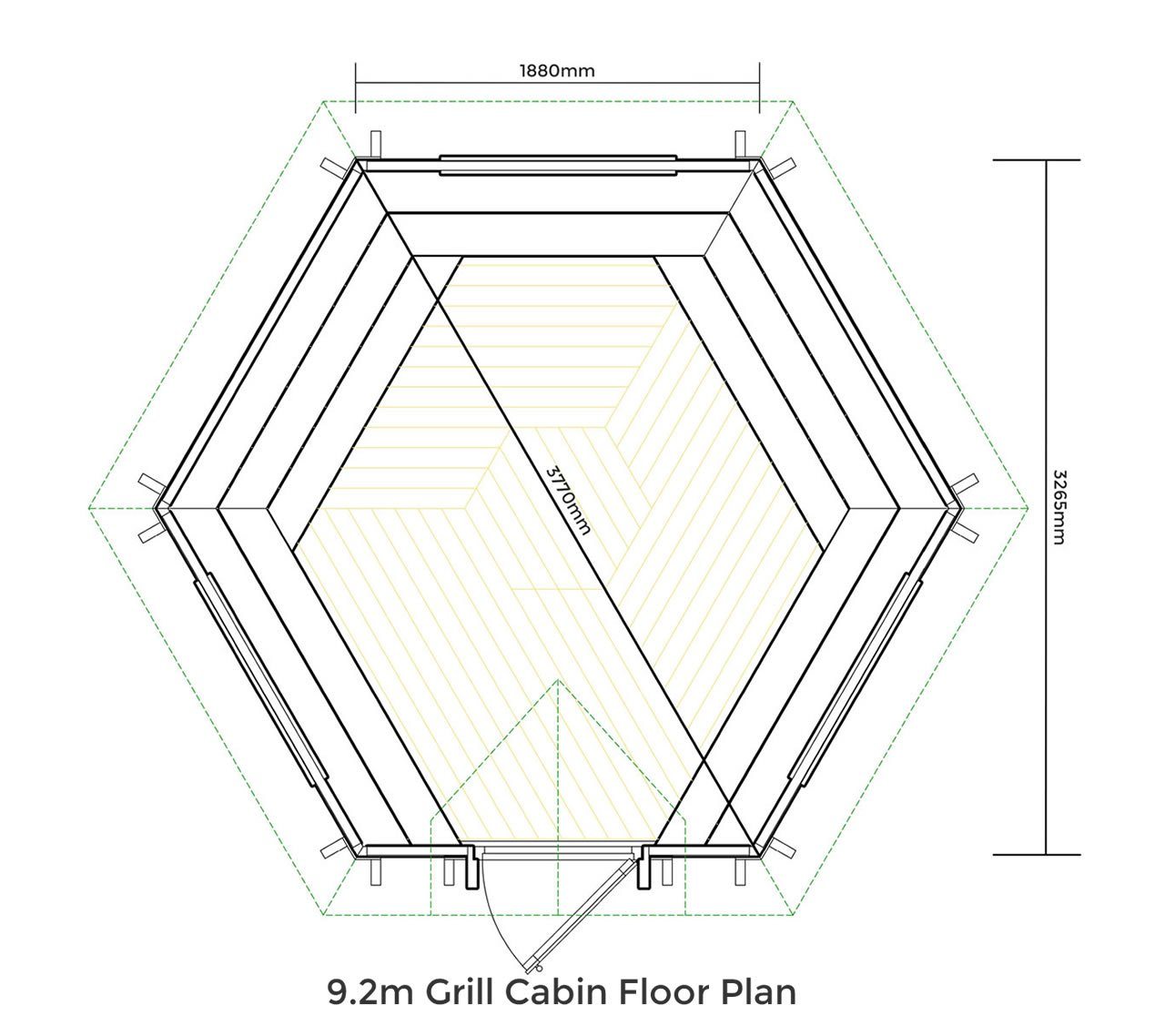 9.2m Medium Grill Cabin Floor Plan