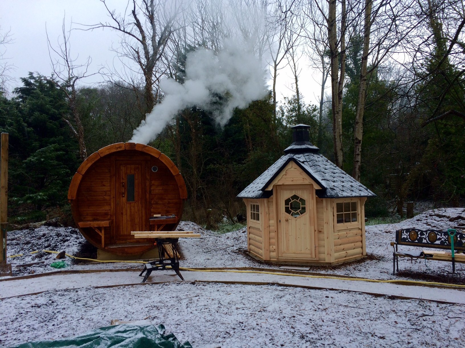 Barrel Sauna in the Snow