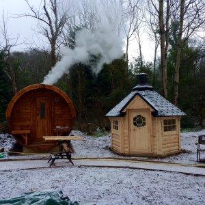 Barrel Sauna in the Snow