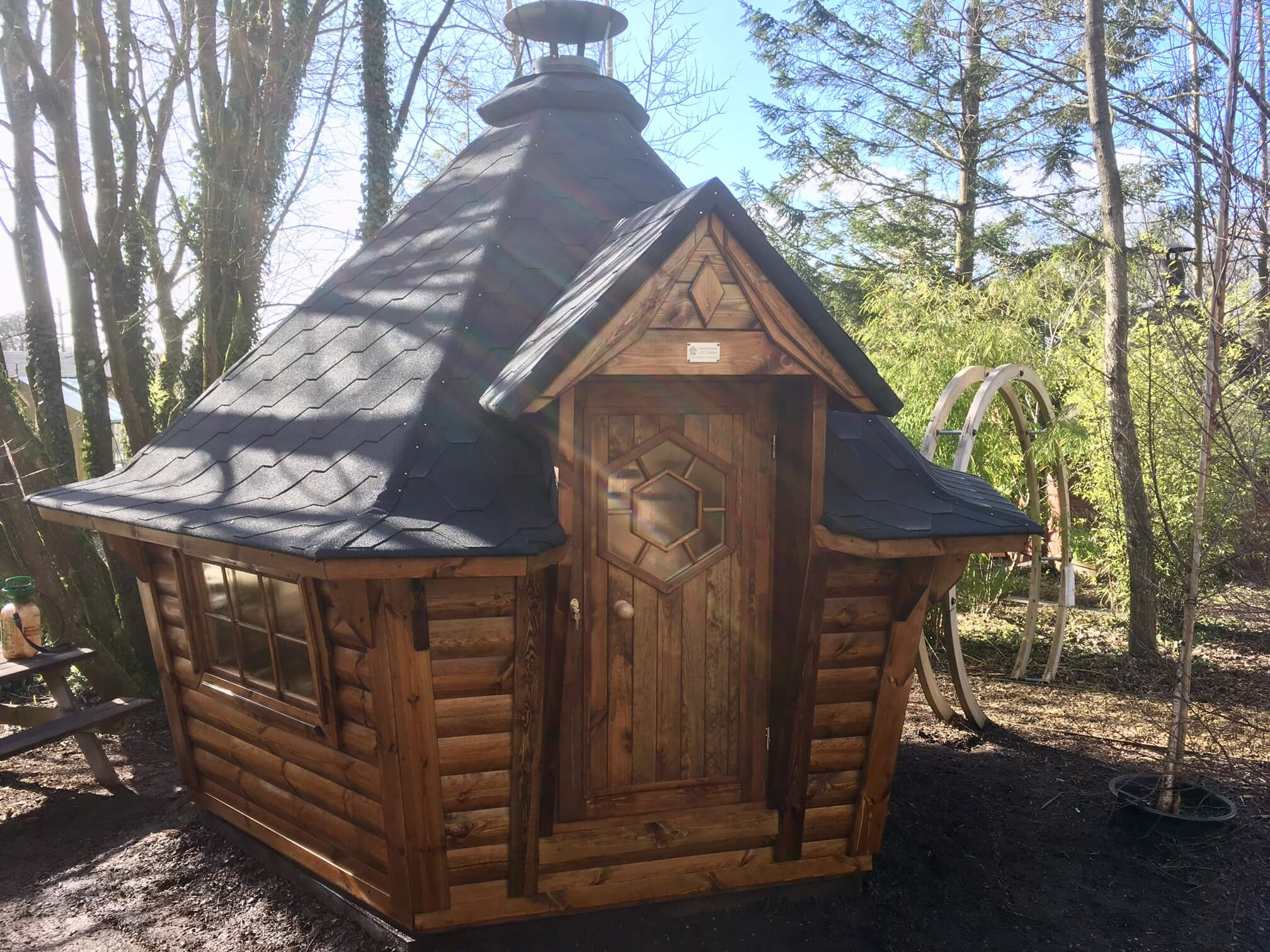 7m Sloping Wall Barbecue Cabin at Carr Bank Garden Centre
