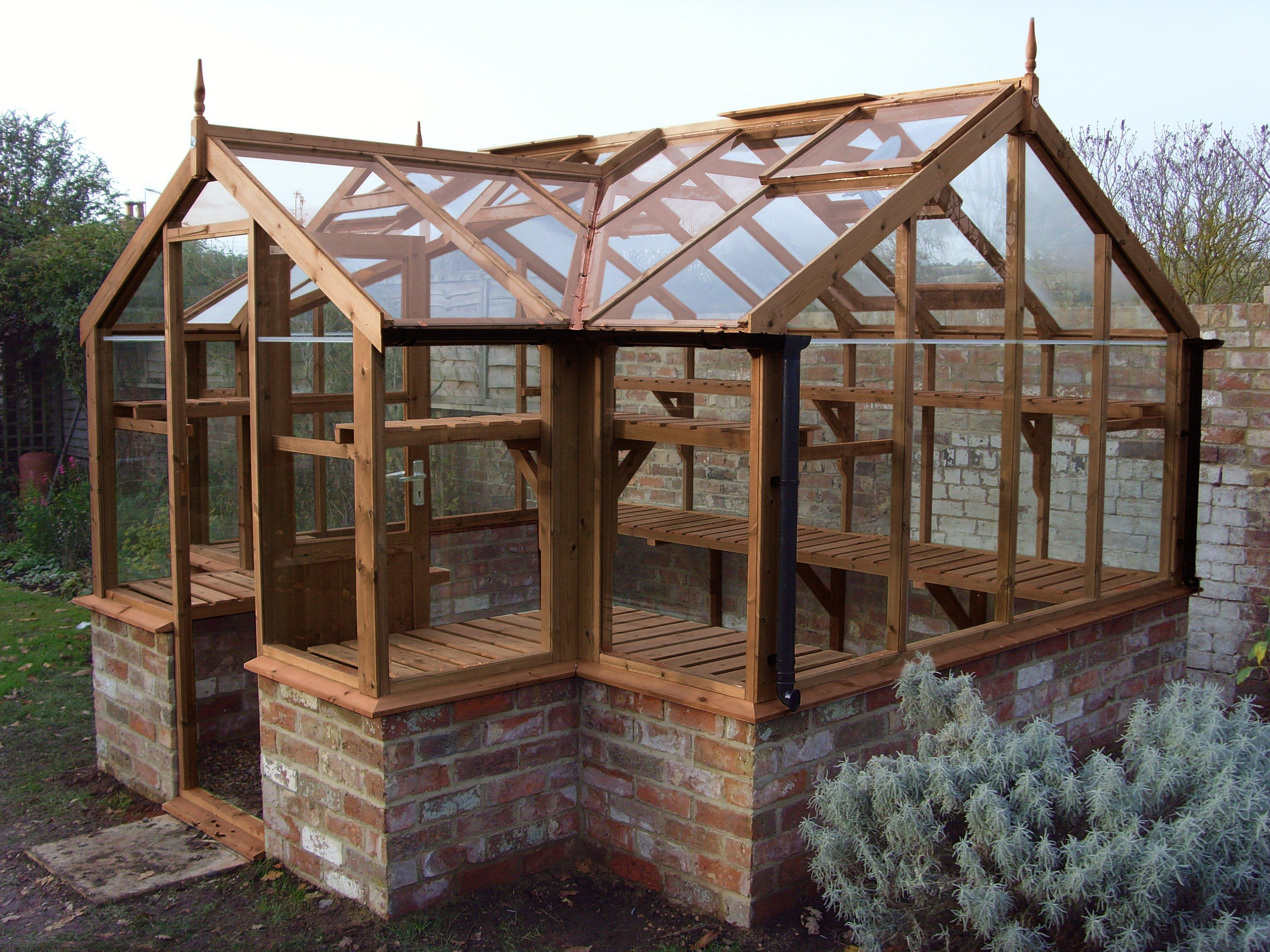 "Swallow Mallard 8'9"" x 11'5"" timber greenhouse on Dwarf Wall Brick Base"