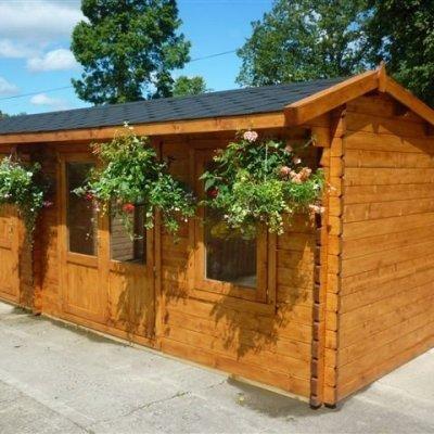 Dual 6m wide Log Cabin