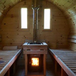 Log Burning Barrel Sauna, natural heat & energy!