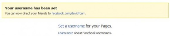 Set Facebook username