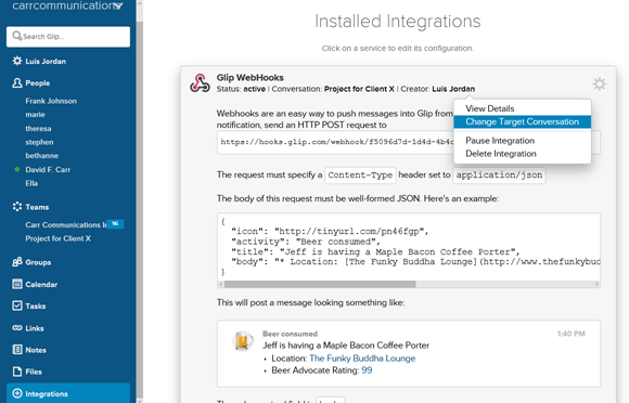 Glip WebHooks integration screen