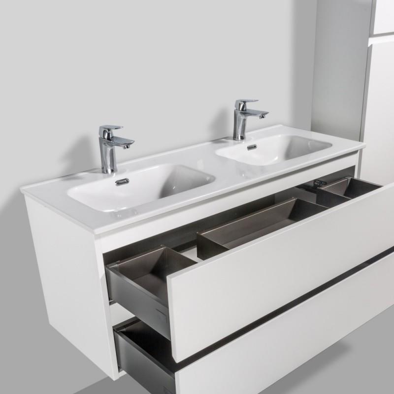 Plan Vasque Double En Ceramique A Encastrer Salle De Bain
