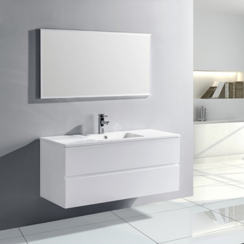 Pack Trinite Meuble Simple Vasque 120 Cm Blanc Laque Salle De Bain