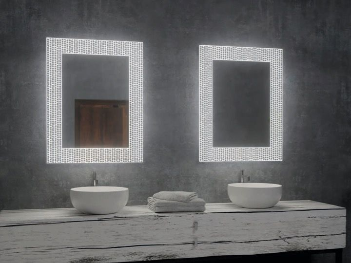 Miroir Salle De Bain Cadre Decoratif Avec Eclairage Led 100 X 80 120 X 80 Cm Mosaic Artdouche