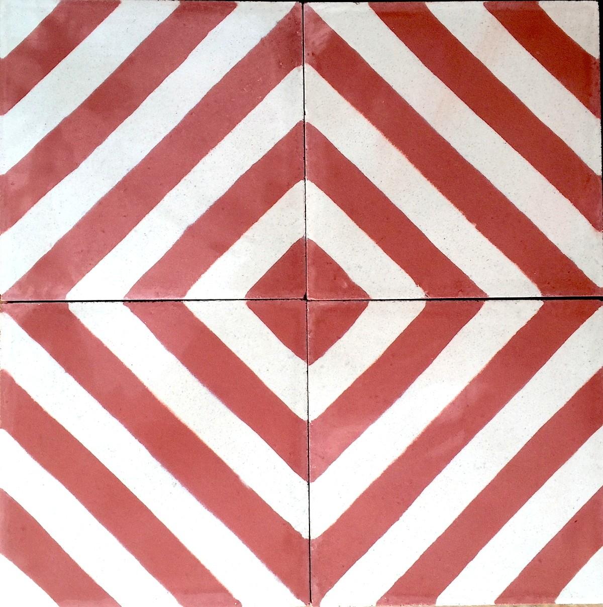 carreaux ciment 1m mur et sol modele chevron rouge carrelage mosaique