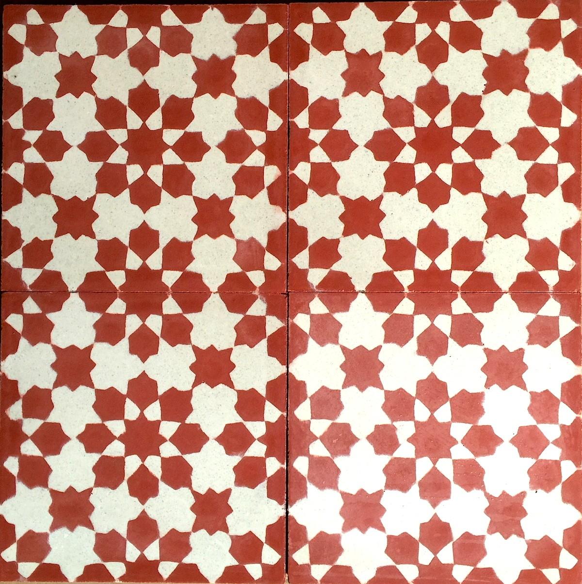 carreaux de ciment 1m2 modele prisma rouge carrelage mosaique