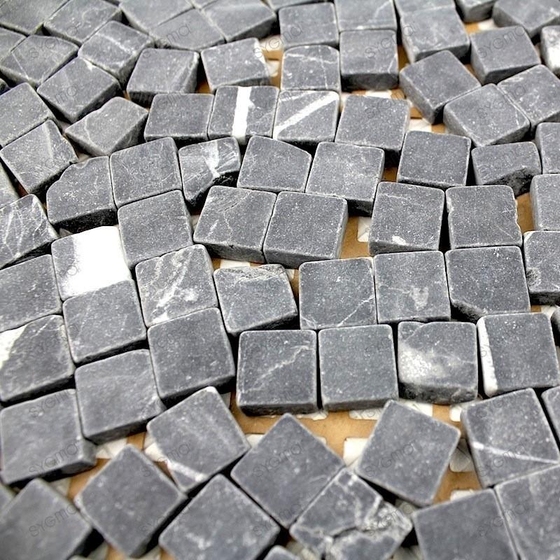 mosaique pierre douche italienne salle de bain lulli noir 1m2 carrelage mosaique