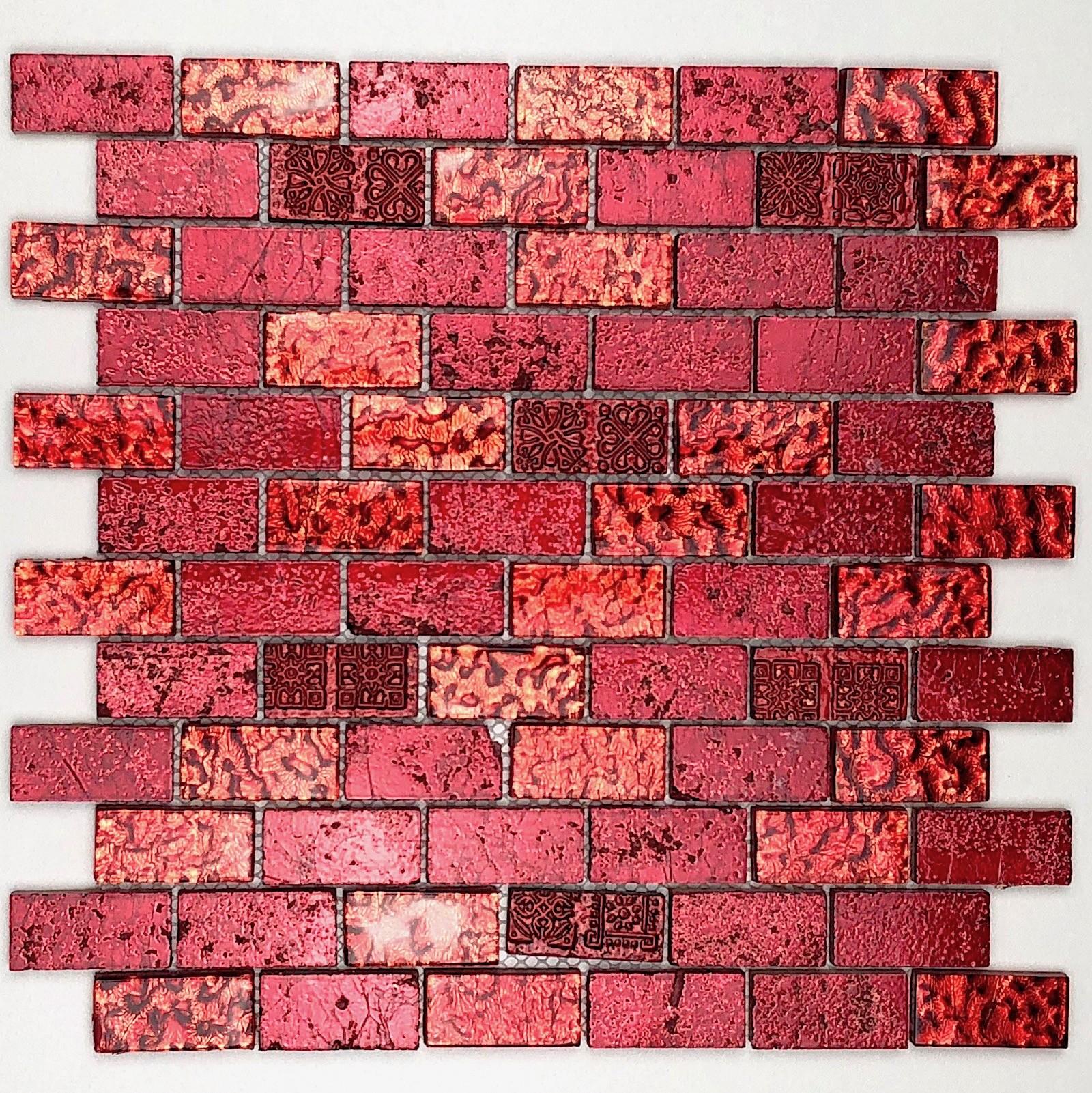 Mosaique Douche Et Salle De Bain 1m Metallic Brique Rouge Carrelage Mosaique