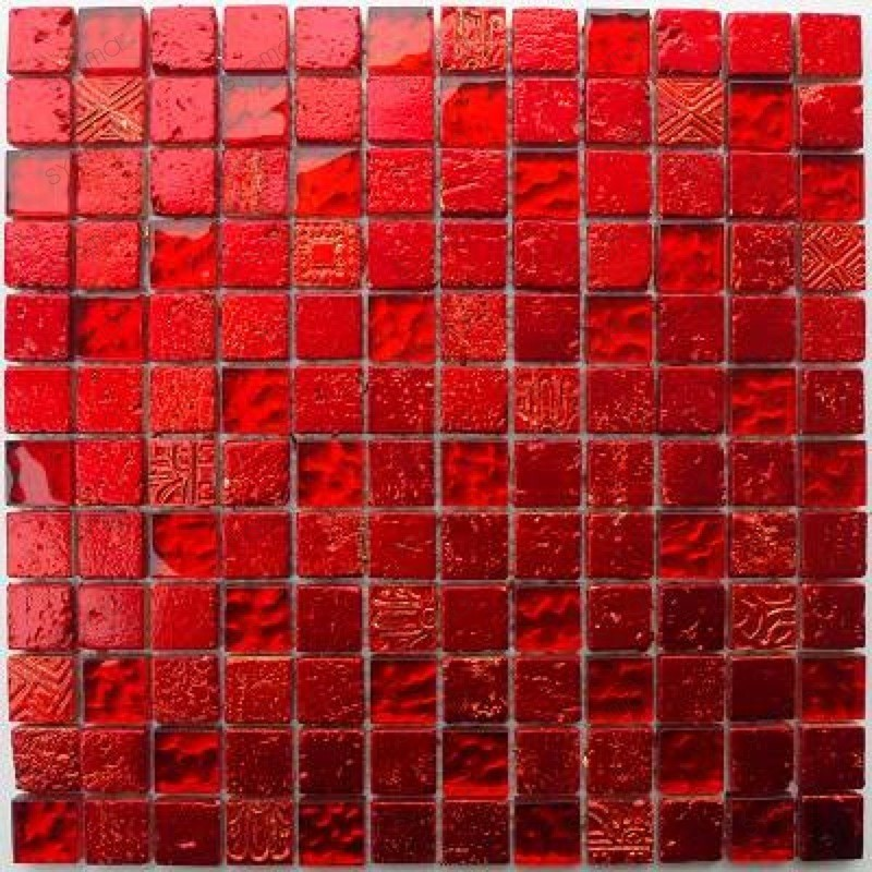 Tile Mosaic Glass And Stone 1 Plate METALLIC Red