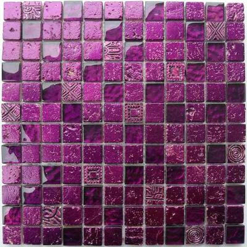 mosaique salle de bains douche ou cuisine alliage violet
