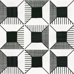 carreau effet ciment art deco 20x20 block noir et blanc