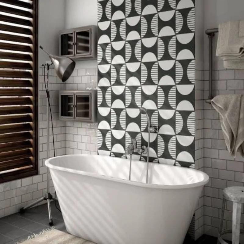 carreau effet ciment art deco 20x20 moonline noir et blanc carrelages 3d