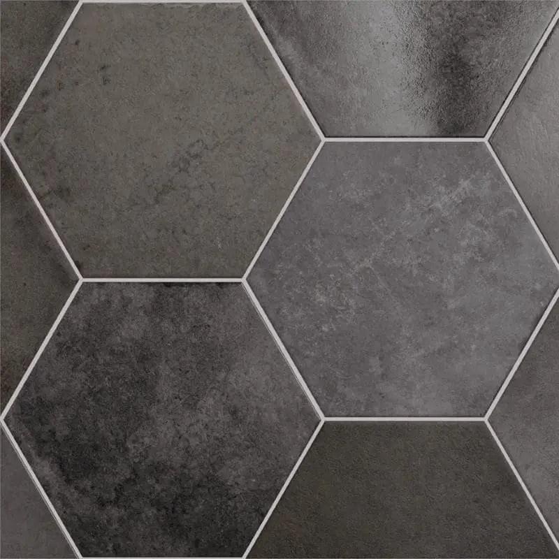 carrelage tomette hexagonal heritage carbon 17 5x20