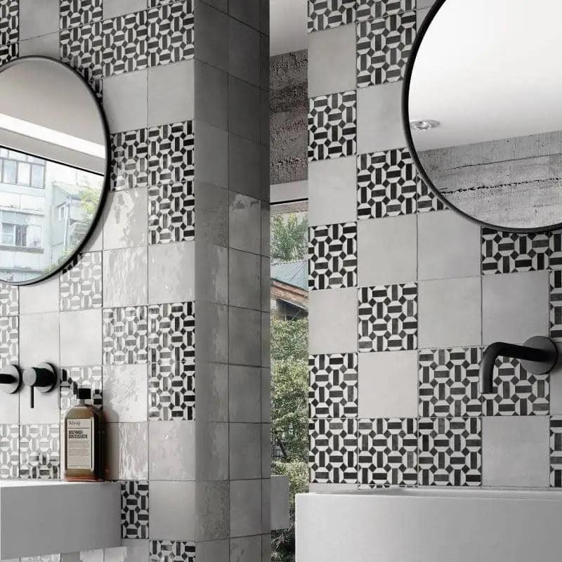 faience zellige decor artisan lunas blanc et noir 13 2x13 2 carrelages 3d