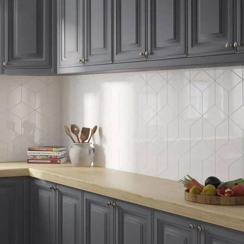 faience losange rhombus wall white 15 2x26 3 blanc brillant carrelages 3d