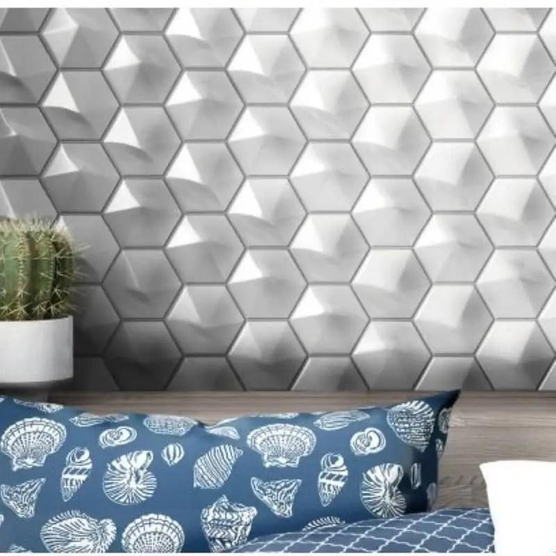 carrelage mural hexagonal avec relief 3d blanc mat ou brillant