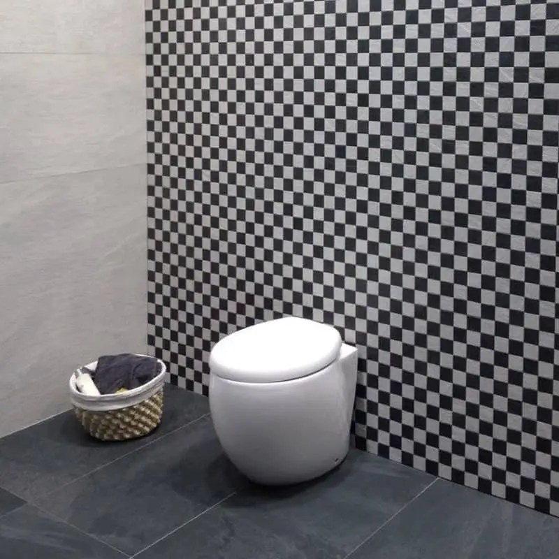 carreau mosaique 5x5 damier noir et blanc imitation pierre