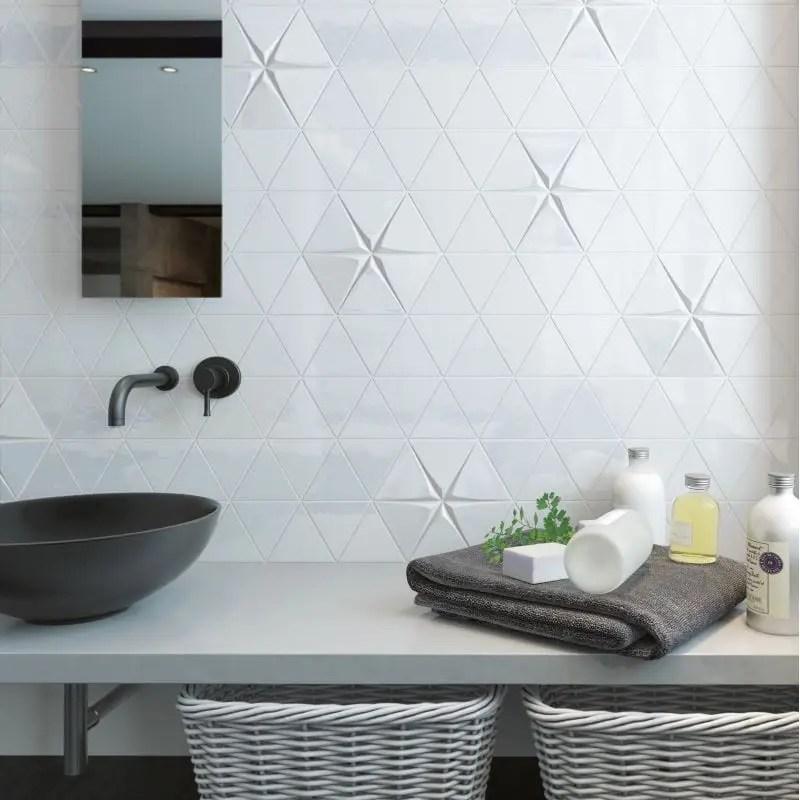 faience relief 3d tirol triangle relief 3d white matt ou brillant 10 8x12 4 carrelages 3d