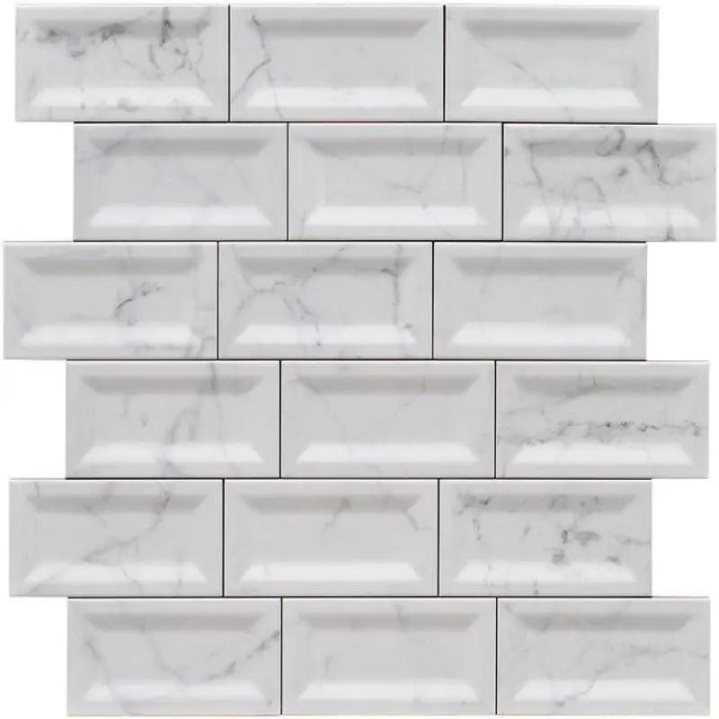 carreau metro marbre carrara inmetro 7 5x15 biseaute interieur brillant carrelages 3d