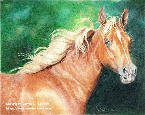 Original Colored Pencil, Portrait of a Palomino Filly by Carrie L. Lewis