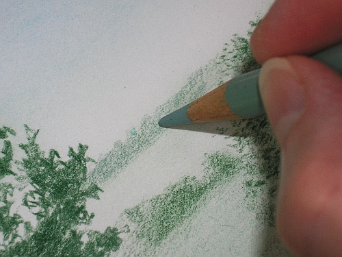 Drawing Distance - Adding Jade Green to the Distant Trees