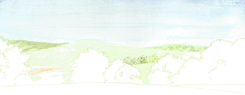 Water Soluble Under Drawing for a Landscape Step 05