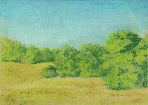 Blending Colored Pencil with Gamsol - Second Blend Greens