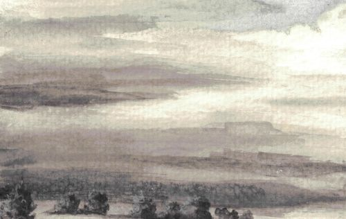 Drawing with Black and Gray Colored Pencils - Streaky Clouds