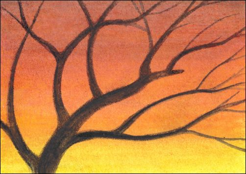 How to Draw a Sunset Sky with Watercolor Pencils Step 4